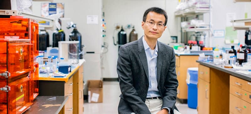 Peidong Yang is photographed in his lab, office and on campus at UC Berkeley in Berkeley, Cali., Monday, Sept. 14, 2015.  Photos by Alison Yin/AP Images for John D. & Catherine T. MacArthur Foundation